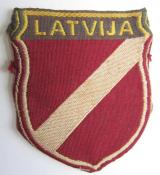 Waffen-SS-type armshield entitled: 'Latvia'