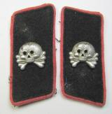 Fully matching pair of early- (ie. pre-war-) period, WH (Heeres) black woolen-based- and/or bright-pink-piped 'Panzer'-collar-tabs, each having an aluminium-based skull-device (ie. 'Totenkopf') period-attached