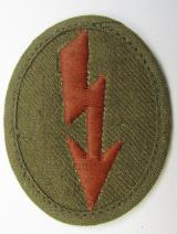 WH (Heeres) 'tropical-styled'-, trade- and/or special-career insignia (or: 'Signal Blitz') as was intended for a soldier within the: 'Kradschützenbtle. der Pz. Div. u. Inf. Divisione (mot.)'