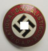 Superb, neatly enamelled Austrian-related: 'N.S.D.A.P.' membership-pin- ie. party-badge (or: 'Parteiabzeichen') which is maker-marked on its back with the makers'-designation: 'Zeugmeisterei Östter. - Gesetzlich Gesch.'