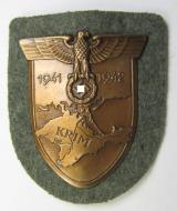 WH (Heeres ie. Waffen-SS) 'Krim'-campaign-shield (as was produced by the desirable maker: 'Friedrich Orth') that comes in a probably issued - albeit 'virtually mint', condition