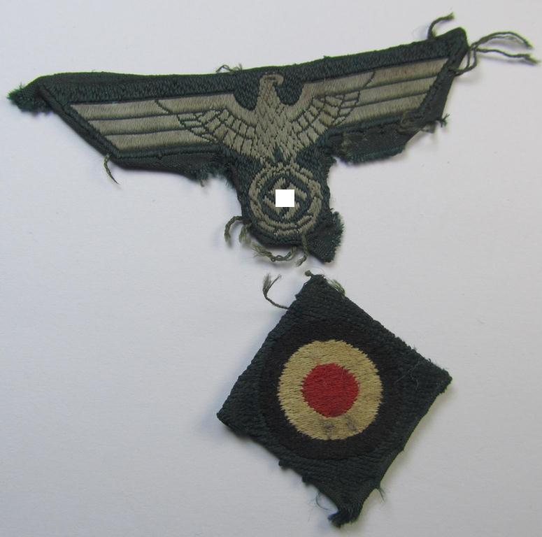 Side-cap-removed, pre- (ie. truly early-) war-period (ie. 'M36- ie. M40'-pattern) WH (Heeres) side-cap eagle and cocarde insignia-set (ie. 'Mützenadler u. Kokarde für Schiffchen') as executed in 'BeVo'-weave-pattern on darker-green-coloured linnen