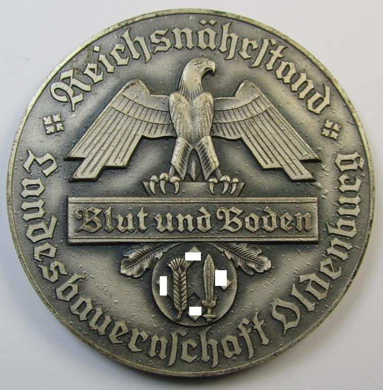 Greyish-silver-toned- and/or zinc- (ie. 'Feinzink'-) based, so-called: 'Reichsnährstand'- (ie. 'RNSt.'-) related award-plaque entitled: 'Reichsnährstand Landesbauernschaft Oldenburg - Blut und Boden' that comes as recently found