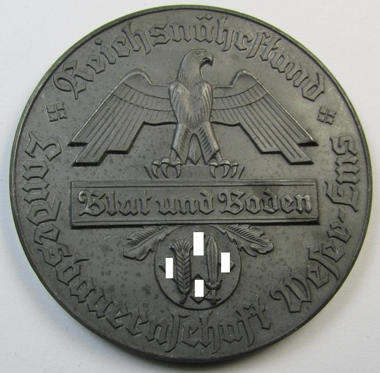 Greyish-silver-toned- and/or zinc- (ie. 'Feinzink'-) based, so-called: 'Reichsnährstand'- (ie. 'RNSt.'-) related award-plaque entitled: 'Reichsnährstand Landesbauernschaft Weser-Ems - Blut und Boden' that comes as recently found