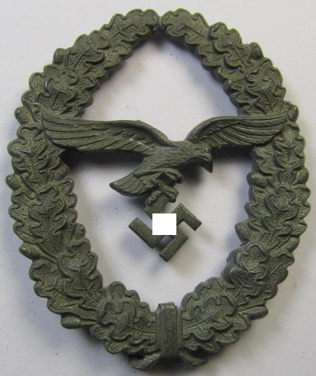 Detailed, zinc- (ie. 'Feinzink'-) based plaque ie. shield as was specifically was intended for usage on a: WH (Luftwaffe) 'Schützenschnur' (or shooting- ie. marksmanship-lanyard)