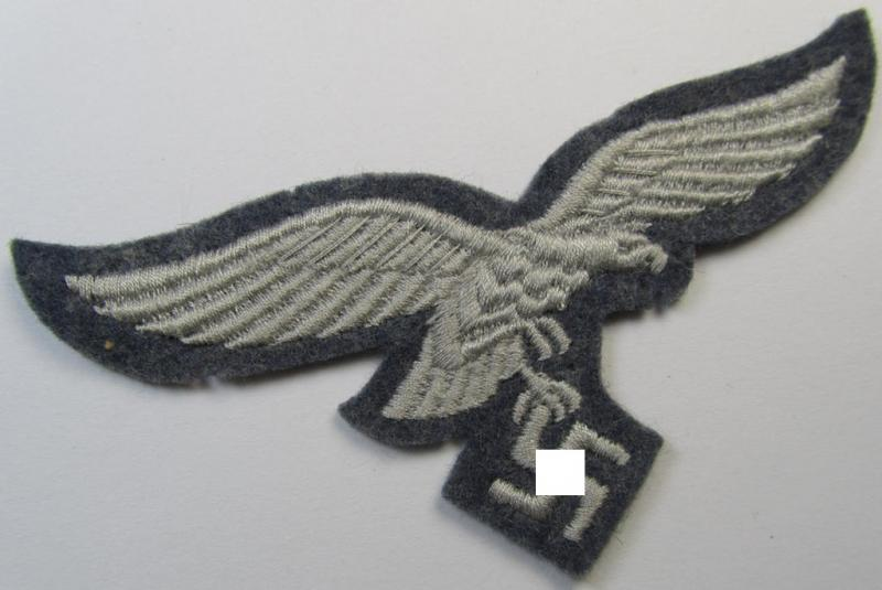 WH (Luftwaffe) 'standard-issue'-pattern breast-eagle (ie. 'Brustadler für Mannschaften u. Uffz. der Luftwaffe') being a machine-embroidered example as was worn throughout the war