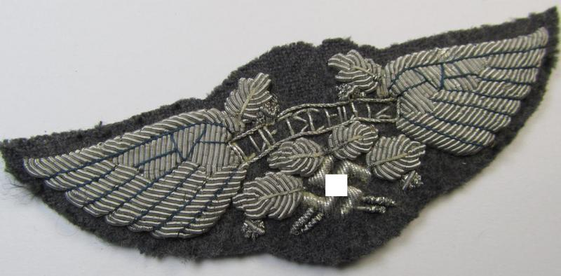 Very attractive - and rarely encountered! - officers'-pattern, so-called: 'Luftschutz' (ie. RLB-) breast-device, being a detailed hand-embroidered example that is executed on a bluish-grey-coloured- and/or woolen-based background