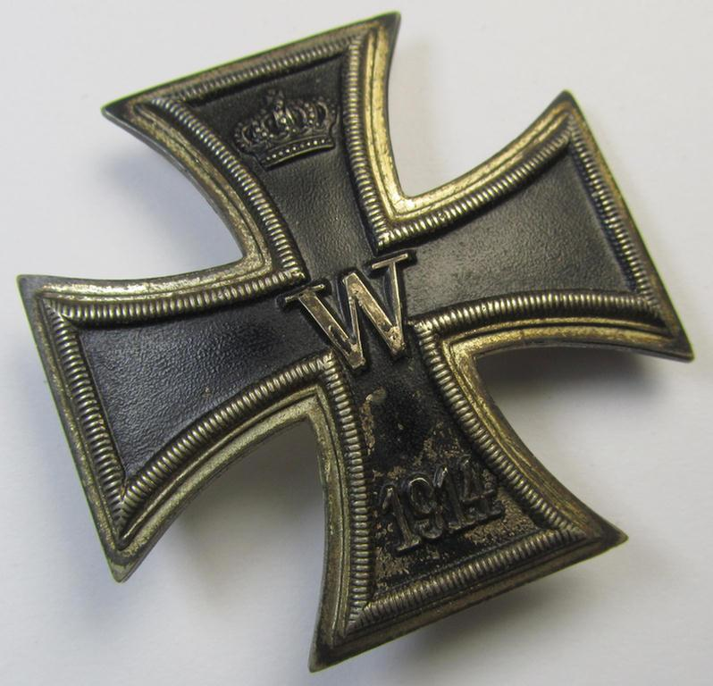 WWI-period Iron Cross 1st class (or: 'Eisernes Kreuz 1. Klasse') being a nicely preserved- and clearly used (albeit non-maker-marked-) example that was produced (in the late thirthies) by the: 'Wilh. Deumer'-company