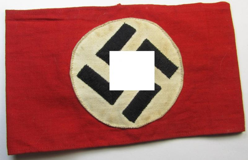 Attractive, so-called: SA (ie. 'Sturmabteilungen') ie. N.S.D.A.P.-related party-armband (ie. 'Armbinde') being of the 'partly woven'-pattern showing a separately applied 'machine-woven' swastika (ie. roundel) attached