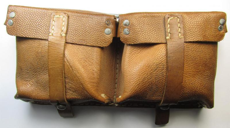 Pair of Wehrmacht (Heeres, Luftwaffe, Waffen-SS etc.) so-called: G43 (ie. 'Selbstladegewehr 43') ammunition-pouches (being a 'virtually mint ie. unissued' example as executed in pebbled-styled, light-brown-coloured leather)