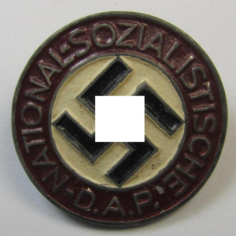 Non-enamelled (ie. painted) bright-red-coloured- and/or 'variant'-pattern 'N.S.D.A.P.' membership-pin- ie. party-badge (or: 'Parteiabzeichen') which is nicely maker-marked on the back with the makers'-designation: 'RzM' and/or: 'M1/77'