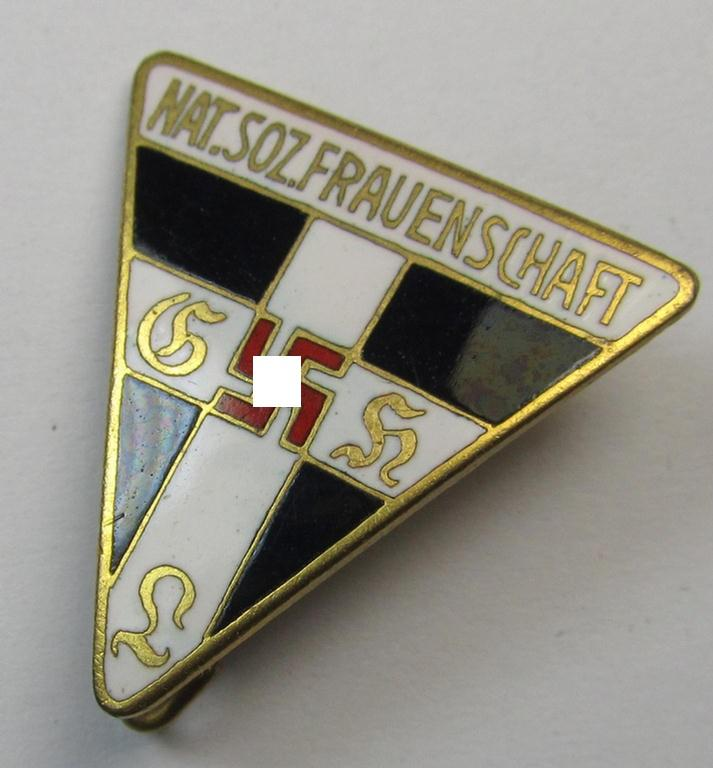 Neat, 'NS-Frauenschaft'-membership-badge (ie. 'Mitgliedsabzeichen', being a 23-mm.-sized (ie. 'Halbminiatur') example of the fourth pattern that shows a: 'RzM 92'-designation on its back