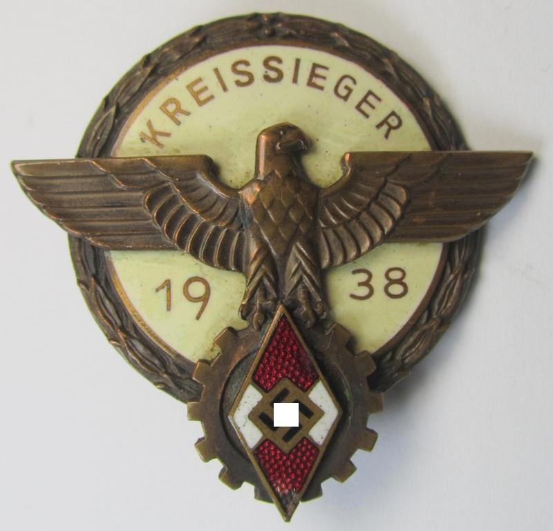 'HJ'- ('Hitlerjugend') ie. 'BDM'- ('Bund Deutscher Mädel') related: 'Reichsberufswettkampf-Siegerabzeichen' (of the 2nd model) entitled: 'Kreissieger 1939' and being a neatly maker- (ie.: 'G. Brehmer'-) marked example